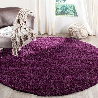 Ampthill Shag Purple Area Rug Rug Size: Round 4'