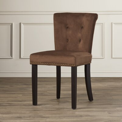 Elvie Traditional Solid Wood Side Chair Upholstery: Chocolate Velvet