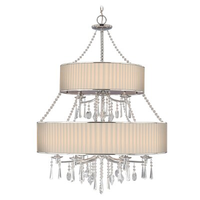 Abel 9-Light Drum Chandelier Shade: Bridal Veil