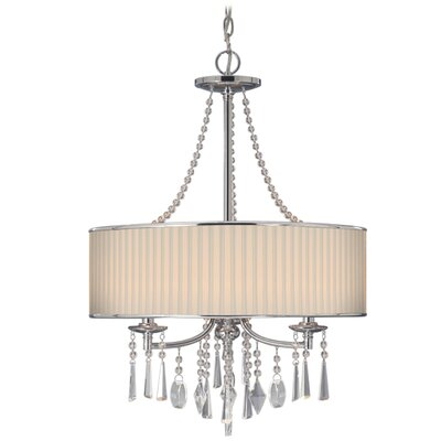 Abel 3-Light Drum Chandelier Shade: Bridal Veil