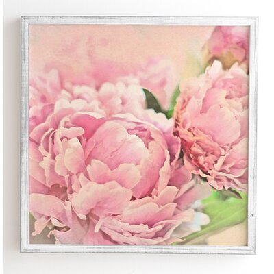 'Pink Peonies' by Lisa Argyropoulos Framed Graphic Art Frame Color: White, Size: 12