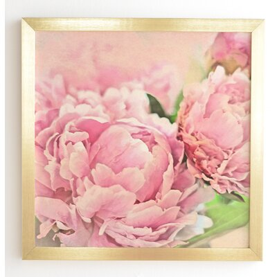 'Pink Peonies' by Lisa Argyropoulos Framed Graphic Art Frame Color: Gold, Size: 12