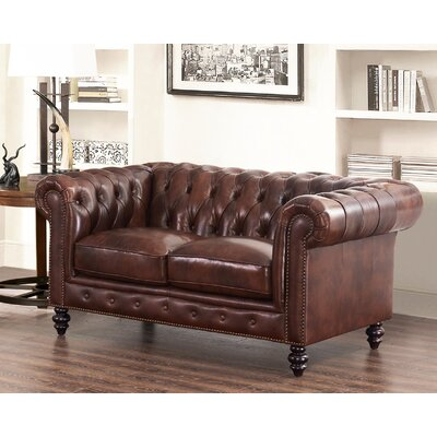 Tunbridge Wells Leather  Loveseat Upholstery: Brown