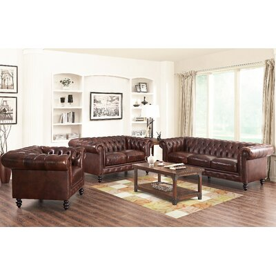 Kashvi 3 Piece Living Room Set Upholstery: Brown