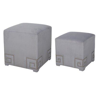 2 Piece Cube Ottoman Set Upholstery: Gray