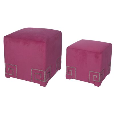 2 Piece Cube Ottoman Set Upholstery: Pink