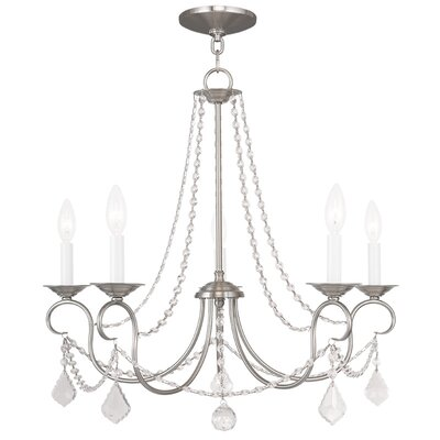 Devana 5-Light Candle-Style Chandelier Finish: Brushed Nickel