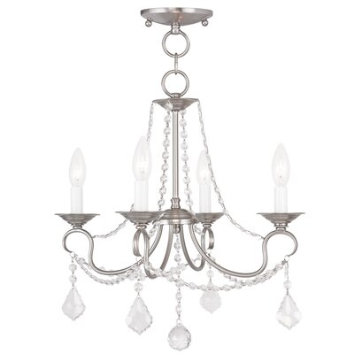 Devana 4-Light Crystal Chandelier Finish: Brushed Nickel