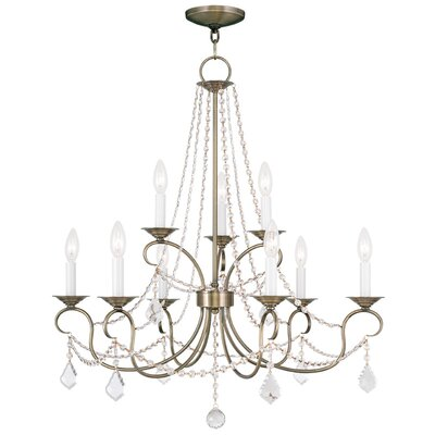 Devana 9-Light Crystal Chandelier Finish: Antique Brass
