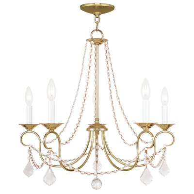 Devana 5-Light Candle-Style Chandelier Finish: Polished Brass