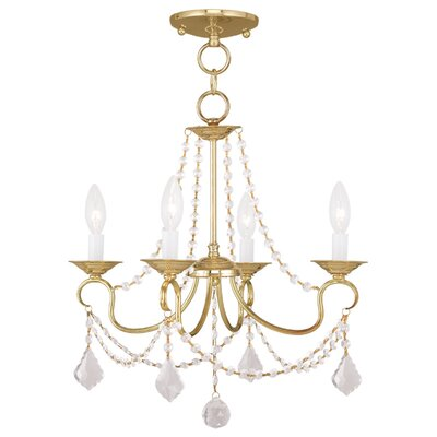 Devana 4-Light Crystal Chandelier Finish: Polished Brass