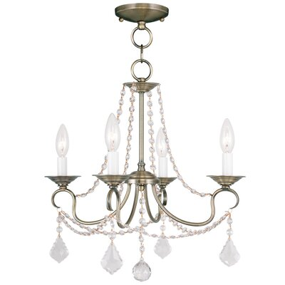 Devana 4-Light Crystal Chandelier Finish: Antique Brass