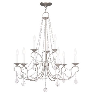 Devana 9-Light Crystal Chandelier Finish: Brushed Nickel