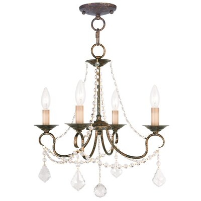 Devana 4-Light Crystal Chandelier Finish: Venetian Golden Bronze