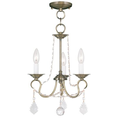 Devana 3-Light Crystal Chandelier Finish: Antique Brass