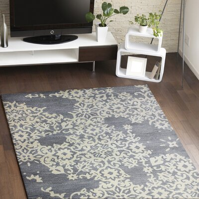 Lierre Hand-Tufted Grey Area Rug Rug Size: 86 x 116