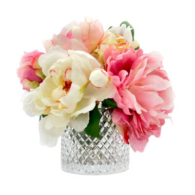 Mixed Peonies in Diamond Cut Glass Vase