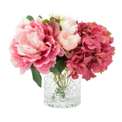 Bouquet of Mixed Hydrangea and Peonies in Glass Vase