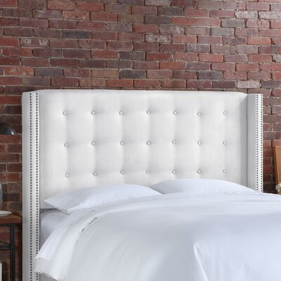 Doleman Upholstered Wingback Headboard Size: California King, Upholstery: White