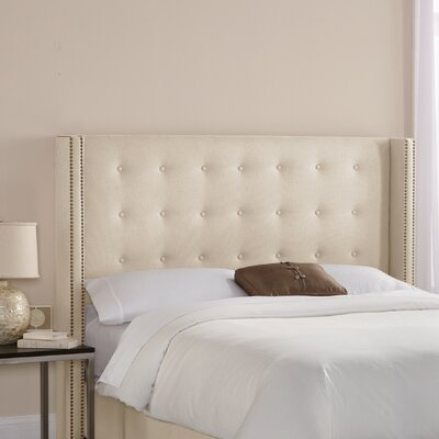 Doleman Traditional Upholstered Wingback Headboard Size: King