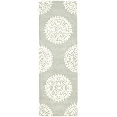 Hawley Hand-Woven Gray/Ivory Area Rug Rug Size: Runner 26 x 10