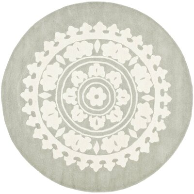 Hawley H-Woven Gray Area Rug Rug Size: Round 8'
