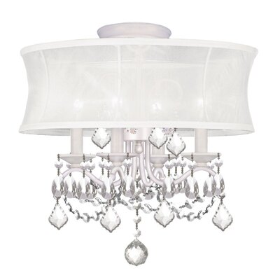 Aron Convertible Crystal Drum Pendant Size: 14.5 H x 16 D, Finish: White