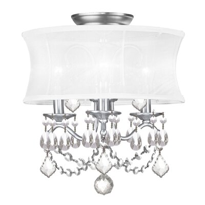 Aron Convertible Crystal Drum Pendant Size: 14.5 H x 13 D, Finish: White