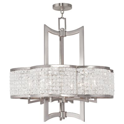 Rickmansworth 6-Light Crystal Chandelier Finish: Brushed Nickel