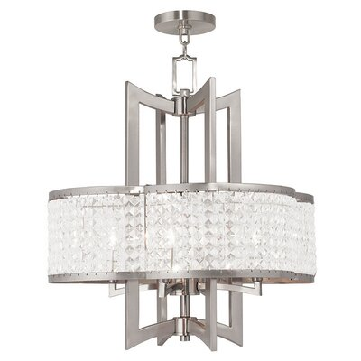 Rickmansworth 4-Light Crystal Chandelier Finish: Brushed Nickel