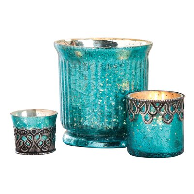 3 Piece Glass Votive Set