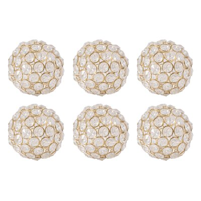6 Piece Gold and Clear Sphere Sculpture Set