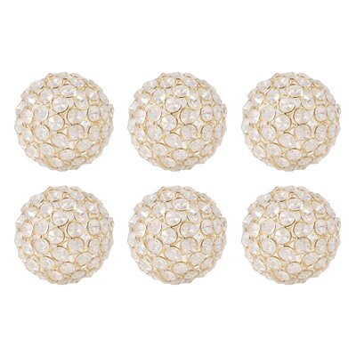 6 Piece Gold and Clear Sphere Sculpture Set Size: 4 H x 4 W x 4 D