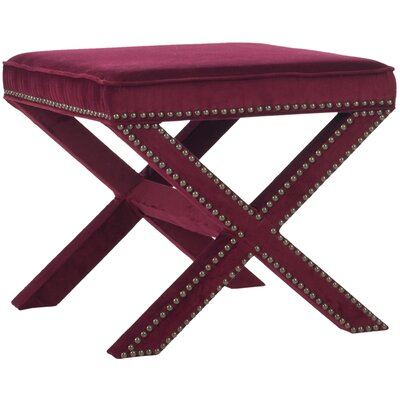 Tally Ottoman Upholstery: Red Velvet