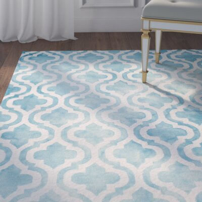 Hand-Tufted Turquoise/Ivory Area Rug