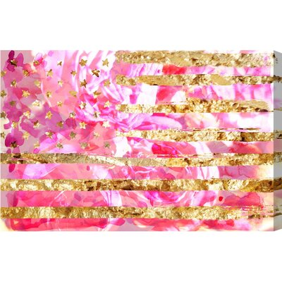 My America Pink Graphic Art on Wrapped Canvas Size: 10