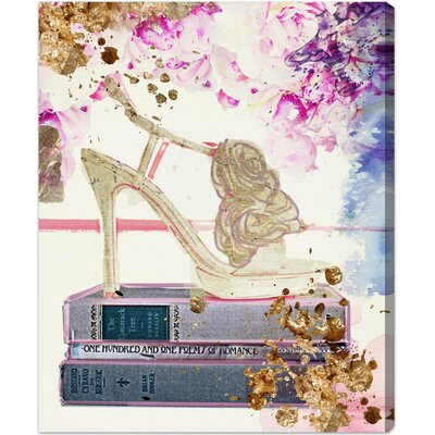 Gold Shoe Graphic Art on Wrapped Canvas