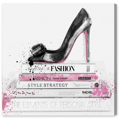 Black Shoe and Pink Lady Books Graphic Art on Wrapped Canvas Size: 12