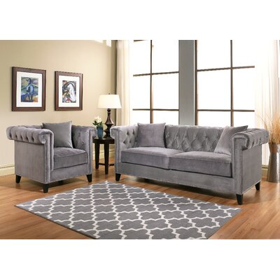 Vianna 5 Piece Living Room Set Color: Gray