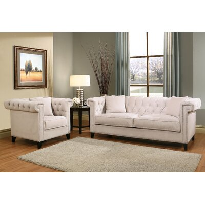 Vianna Velvet Sofa and Armchair Set Color: Ivory