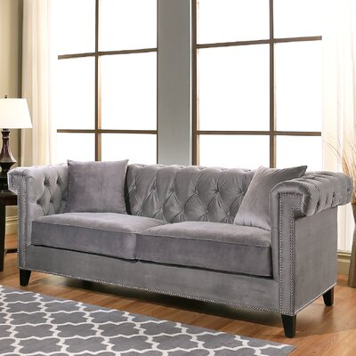 Vianna Chesterfield Sofa Upholstery: Gray