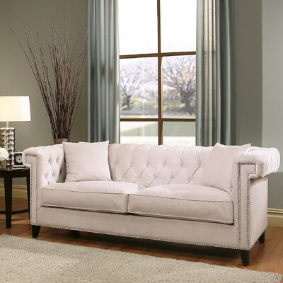 Vianna Chesterfield Sofa Upholstery: Ivory