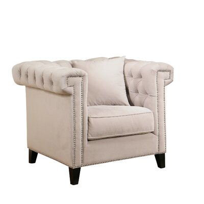 Zirconia Velvet Armchair Color: Ivory
