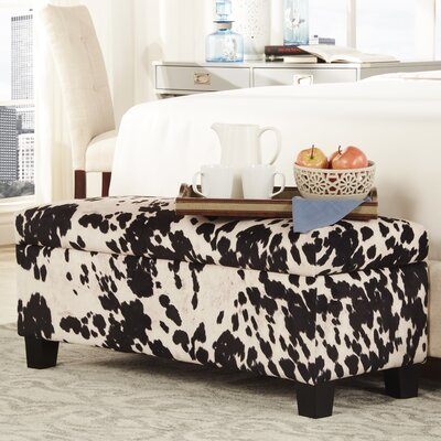 Michael Upholstered Storage Bedroom Bench Color: Black Cow Hide Print Fabric