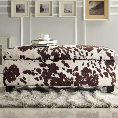 Michael Upholstered Storage Bedroom Bench Color: Brown Cow Hide Print Fabric