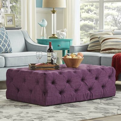 Laudalino Rectangular Tufted Cocktail Ottoman Upholstery: Purple
