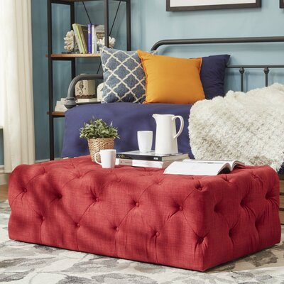 Laudalino Rectangular Tufted Cocktail Ottoman Upholstery: Red