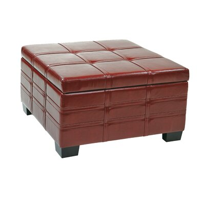 Hattie Strap Leather Ottoman Upholstery: Crimson