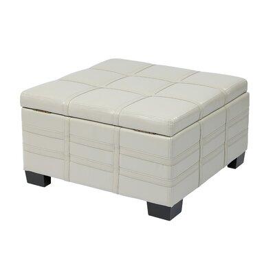 Hattie Strap Leather Ottoman Upholstery: Cream