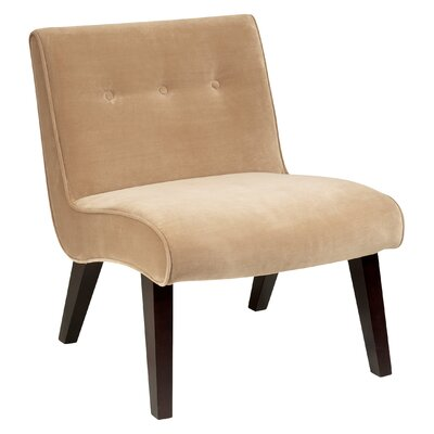 Elvie Velvet Slipper Chair Frame Finish: Coffee